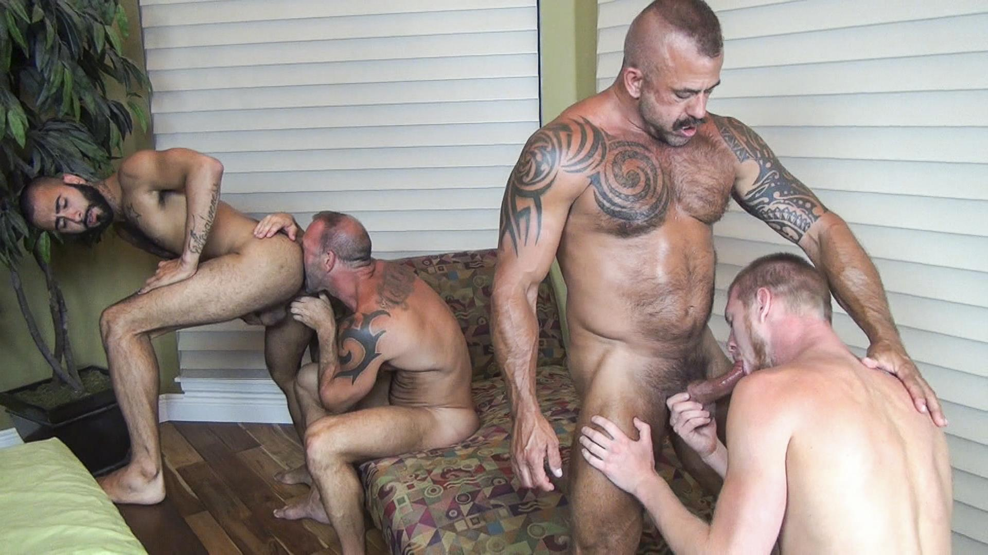 Raw-Fuck-Club-Vic-Rocco-and-Rikk-York-and-Billy-Warren-and-Job-Galt-Bareback-Daddy-Amateur-Gay-Porn-06 Four Hairy Muscle Daddies In A Bareback Fuck Fest Orgy