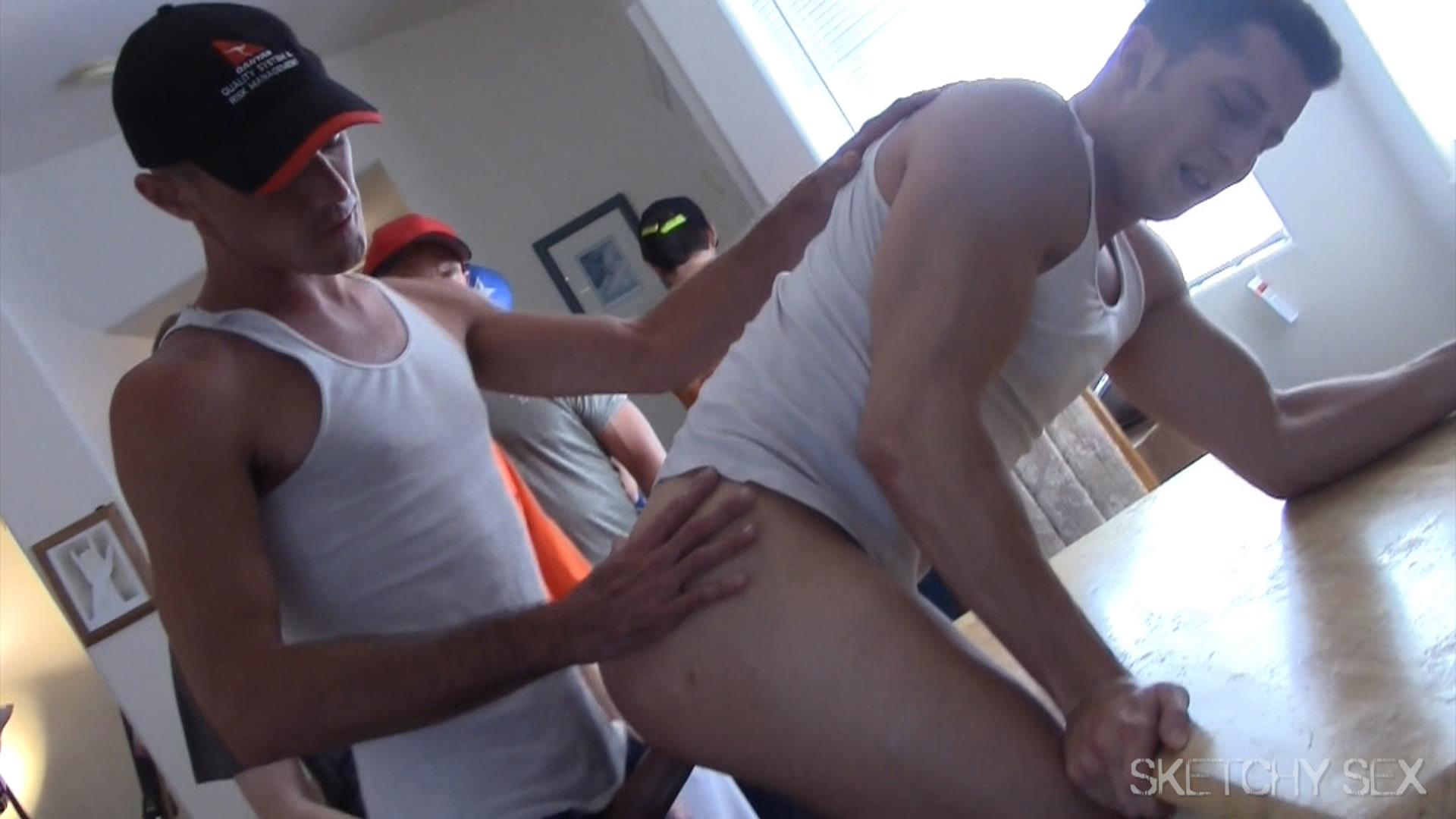 Sketchy-Sex-Bareback-Breeding-A-College-Guy-Amateur-Gay-Porn-12 Guys Lining Up At The Door Take Turns Breeding A Horny College Guy